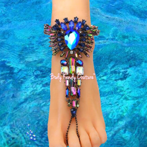 Salome Aurora Borealis BareFoot Sandals - Aurora Borealis, Barefoot, Barefoot Sandals, Barefoot sandals wedding, Barefoot wedding sandals, Beach Wedding, Beach Wedding Jewelry, crystal barefoot sandals, Crystals, feet jewelry, Foot Jewelry, Jeweled Crystal barefoot sandals, new, Salome, Swarovski by Body Kandy Couture