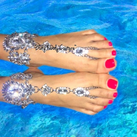 Glinda Rhinestone Jeweled Barefoot Sandals - Ankle bracelet, Ankle chain, Ankle foot jewelry, Barefoot Sandals, Beach Wedding, Beach Wedding Jewelry, Body Jewelry, Crystal Foot Chain, Crystals, feet jewelry, Foot bracelet, Foot Chain, Foot Jewelry, Footless Sandals, Rhinestones, Toe Chain by Body Kandy Couture