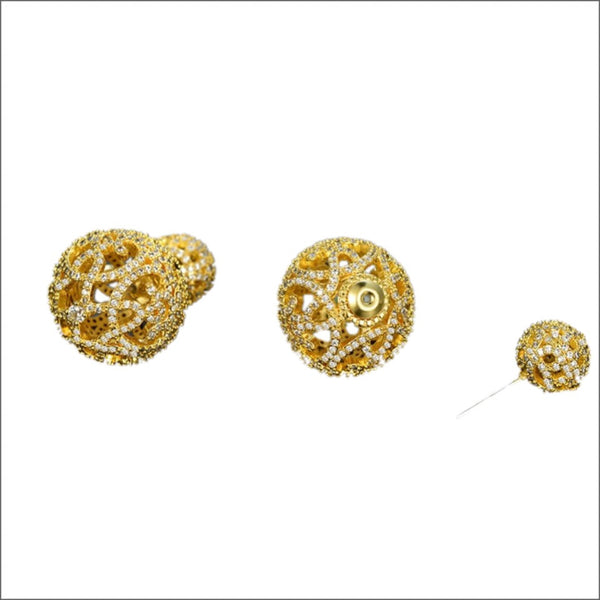 Liliana Gold Filigree Double Ball Studs-Earrings-Body Kandy Couture