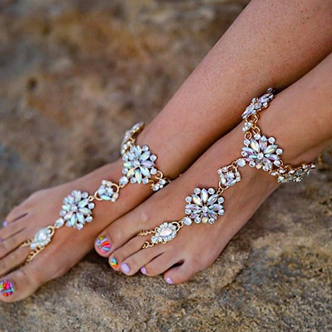 Ankle Foot Jewelry - Django Jeweled Barefoot Sandals