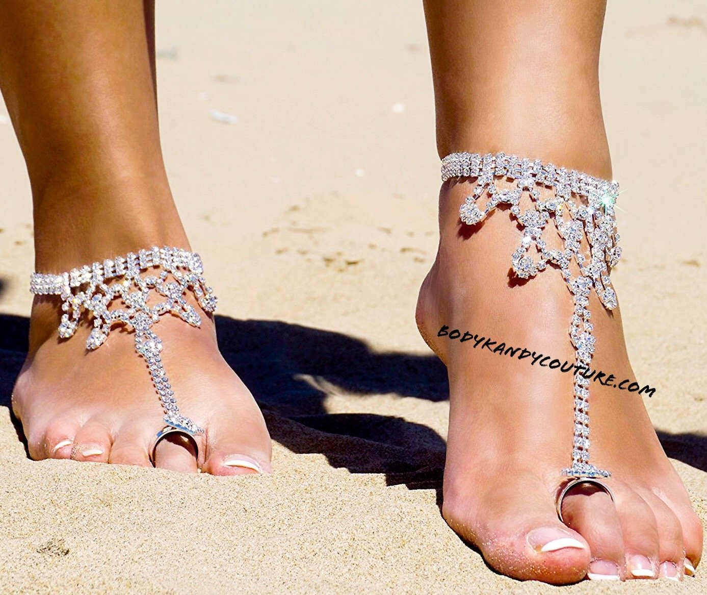 6aca338cf Ankle Foot Jewelry - Rhinestone Beach Wedding BareFoot Sandals