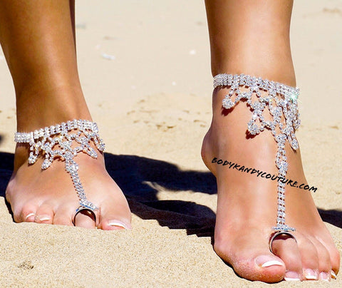 Ankle Foot Jewelry - Rhinestone Beach Wedding BareFoot Sandals