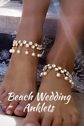 Anklets - Mellie Pearl Beach Wedding Anklets