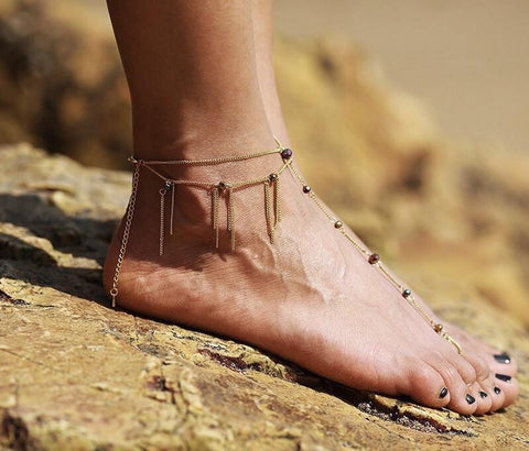 Barefoot Sandals - Nellie Gold Beaded Barefoot Sandals