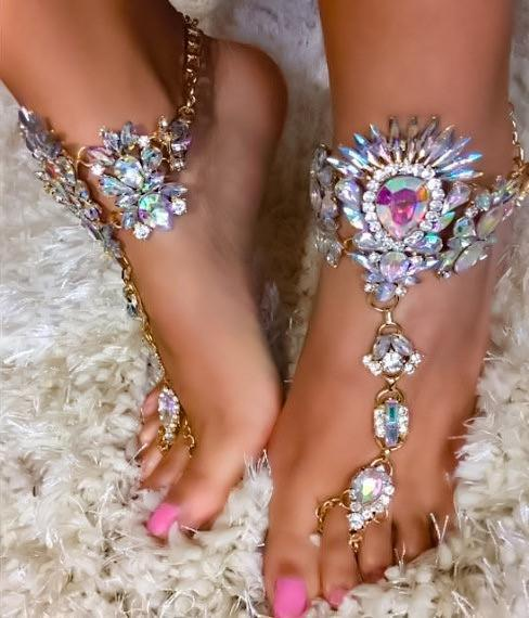 Barefoot Sandals - Tali Crystal Jeweled BareFoot Sandals