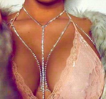 Body Jewelry - Slay Rhinestone Chain Bra - Gold