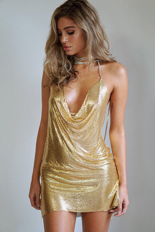 Dress - Pacha Gold Glomesh Mini Dress