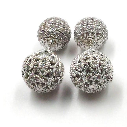 Front Back Earrings - Simone Filigree Ball Earring Studs