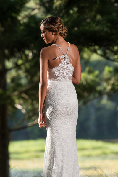 Unique lace wedding dress. Stunning back detail. Olivine. Ivory and Stone Bridal