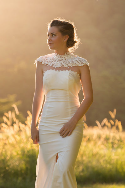 Unique lace wedding dress. Ivory and Stone Bridal. New Zealand wedding.
