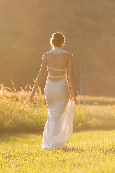 Unique lace wedding dress. Citrine. Ivory and Stone Bridal.