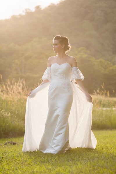 Unique lace wedding dress. Rosaline. Ivory and Stone Bridal