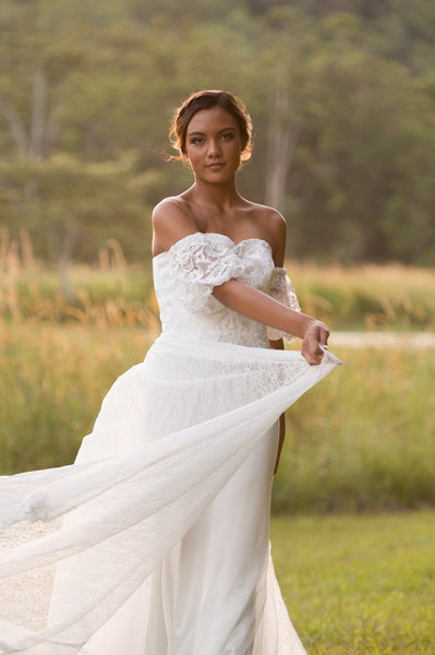 Unique lace bridal overskirt. Jaspe detachable overskirt. Ivory and Stone Bridal. Wanaka Wedding Dress