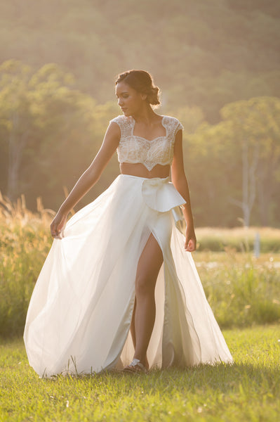 Unique lace two piece bridal dress. Mica. Ivory and Stone Bridal.