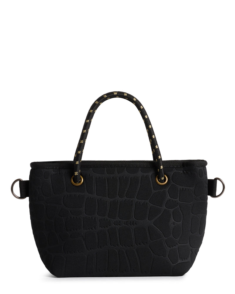 The Golden Bam Bam Bag (BLACK CROC / GOLD) Neoprene Crossbody / Hand Bag