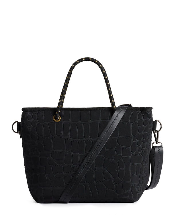 The Golden Pebbles Bag (BLACK CROC / GOLD) Neoprene Crossbody / Hand Bag