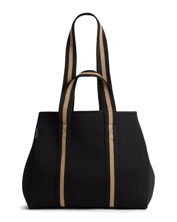 The Gigi Bag (BLACK/BEIGE) Neoprene Tote Bag