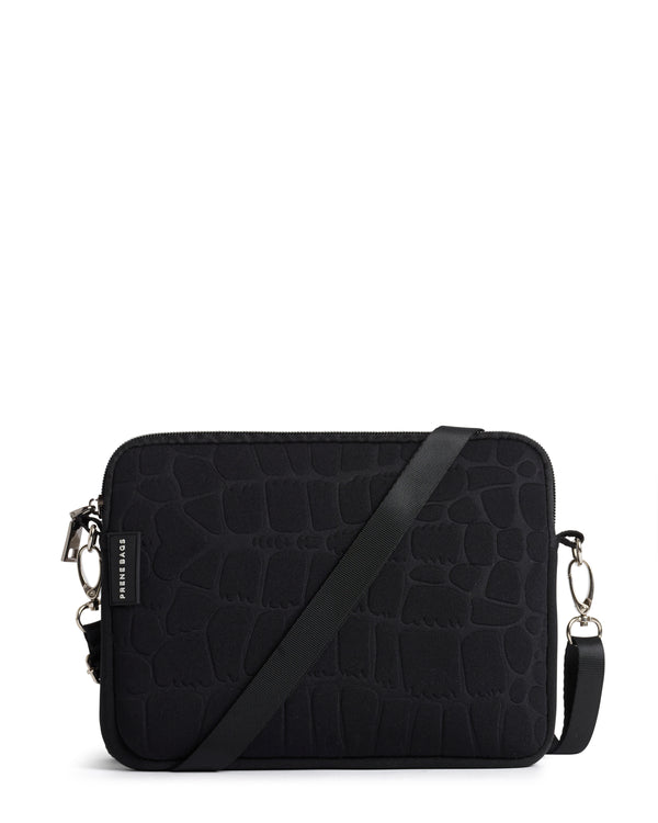 The Wild Pixie Bag (BLACK CROC) Neoprene Crossbody / Hand Bag