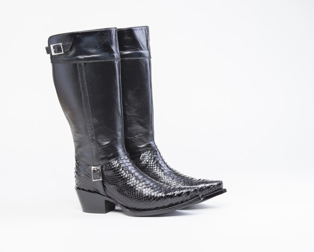 ALVIES Women's<br> Black Python Riding Boots