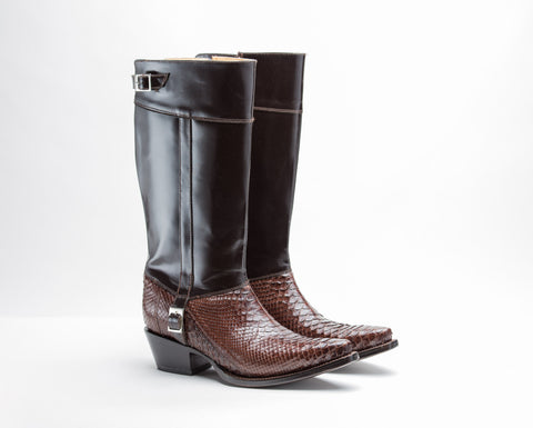 ALVIES Women's<br> Brown Python Riding Boots