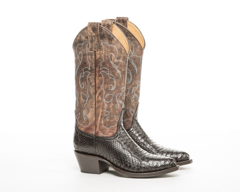 ALVIES Women's <br> Two-Tone Brown Python Boots