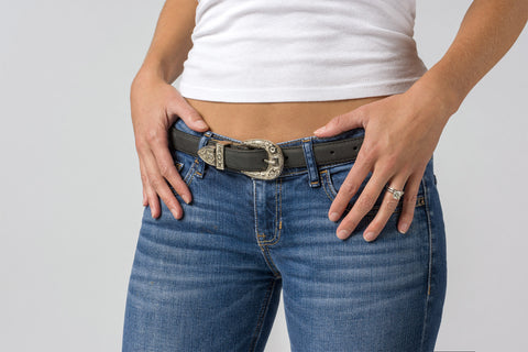 Black Cow Skin Belt with Silver Buckle for Women
