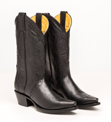 ALVIES Women's Black Cow Skin