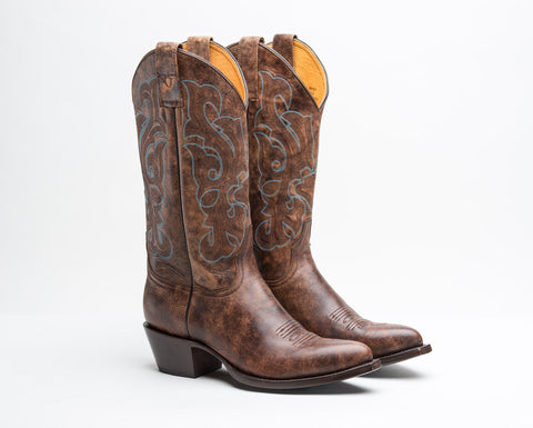 ALVIES Women's<br> Dark Brown Cow Skin Boots