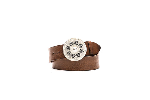 Brown Leather Cow Skin Belt with Moon Tear Drop Buckle