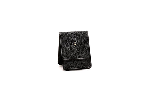 Jet Black Stingray Wallet with Money Clip