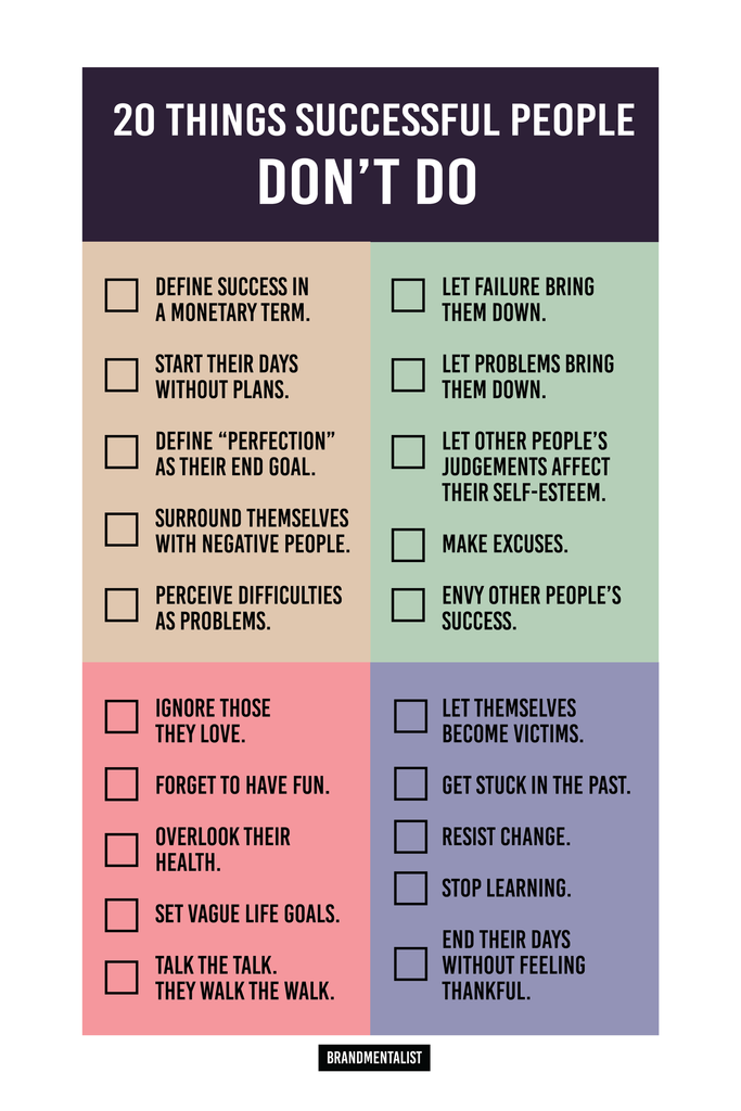"""20 Things Successful People Don't Do"