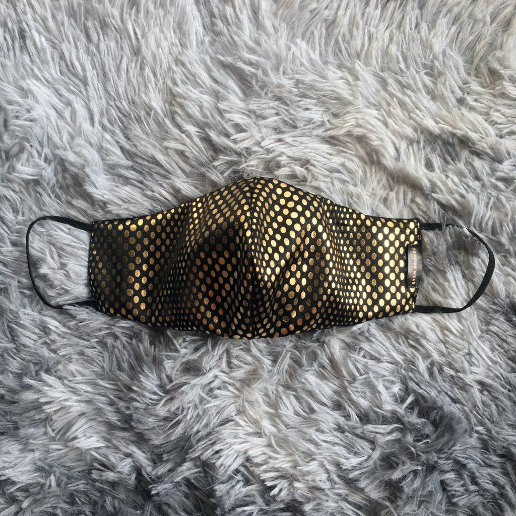 Gold Polka Dots Mask | Faux Leather