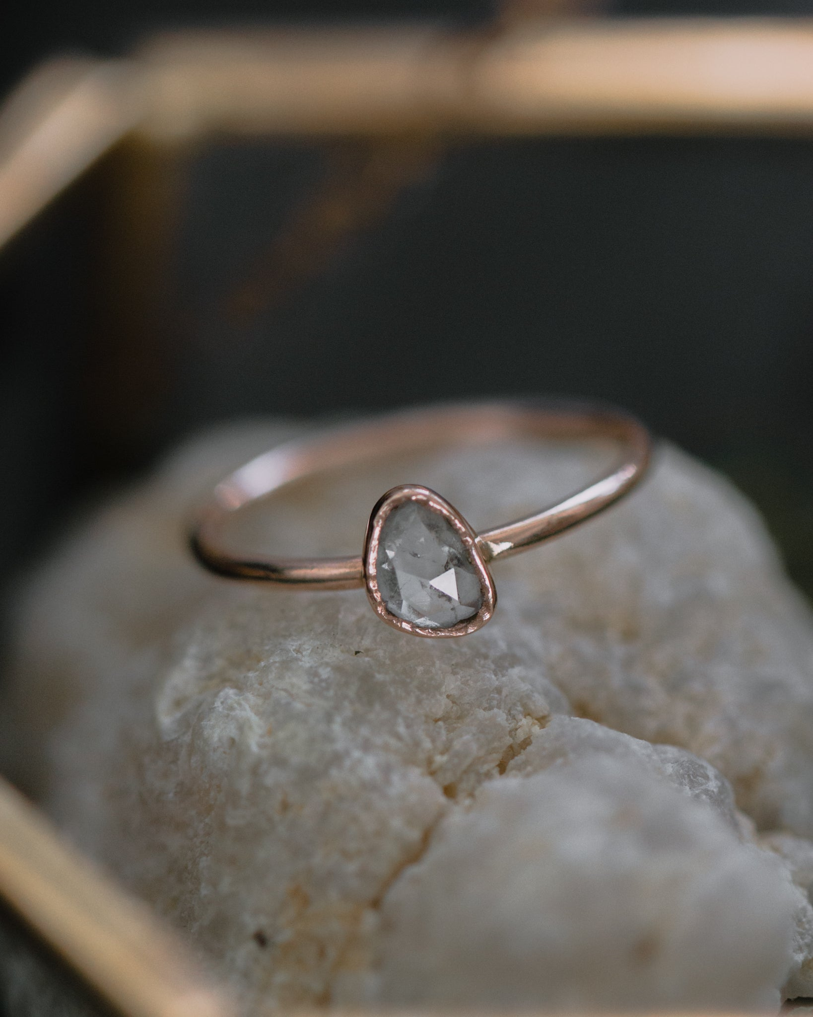 SOLD OUT - rose cut diamond slice ring with rough bezel