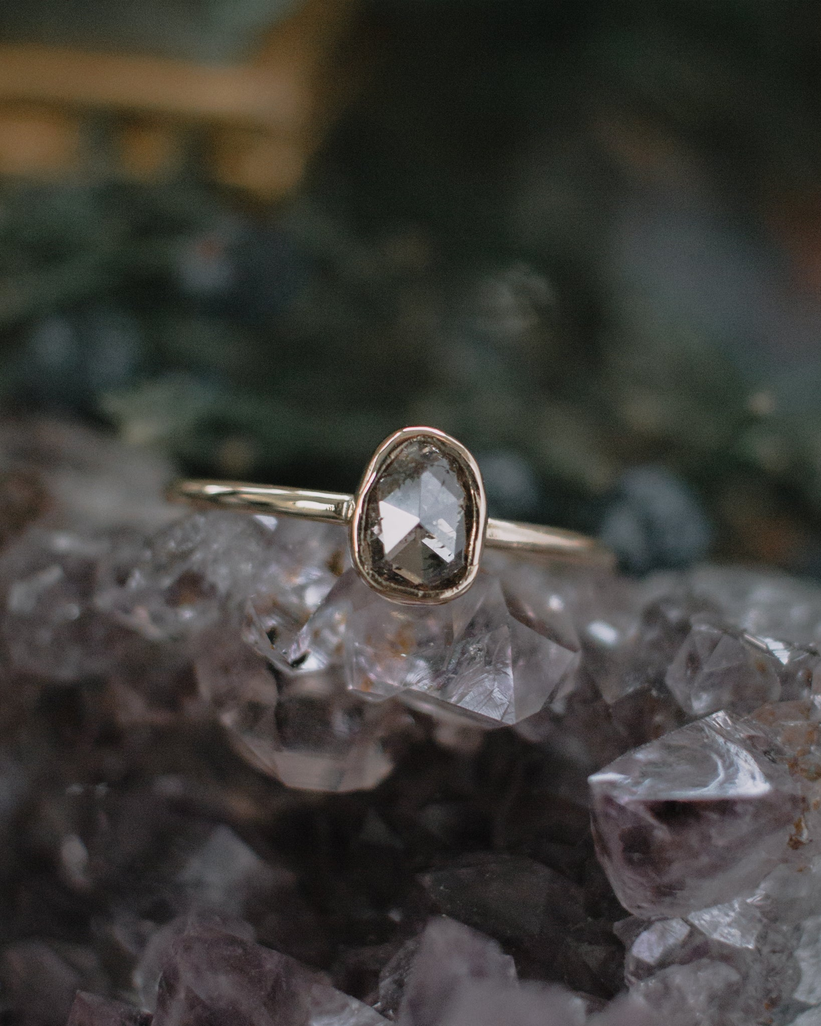 SOLD OUT - rose cut diamond slice ring with clean bezel