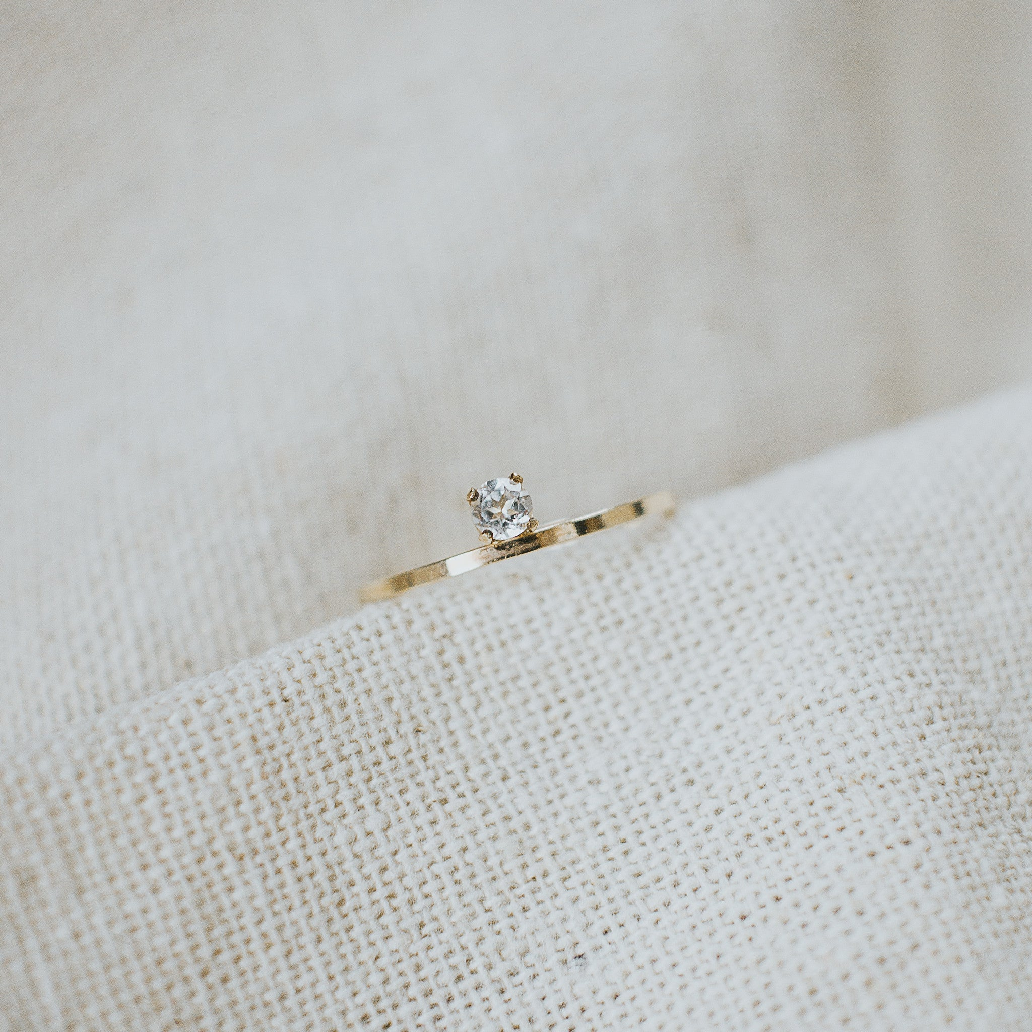 first light classic ring, white topaz
