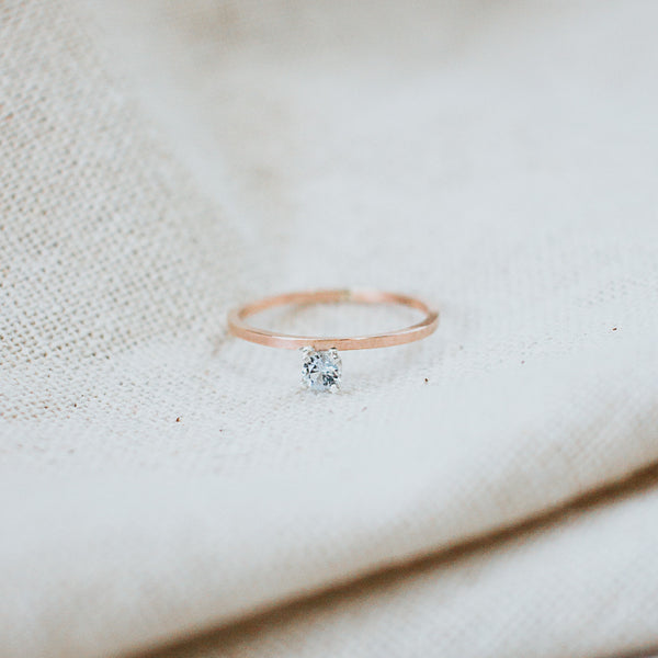 first light classic ring, rose gold, aquamarine