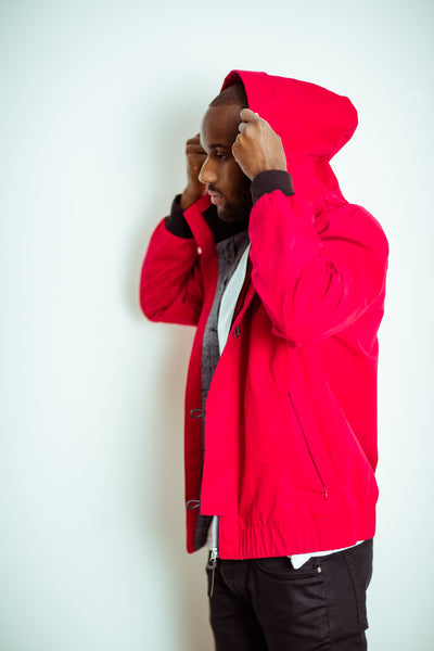 performance cotton Snow Smock in ruby red, waterrepellent and rainproof | w'lfg'ng (wolfgang) urban outerwear and functional streetware