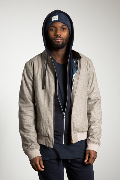 Water-repellent Wool Bomber Jacket (Fabric: Italy - Vitale Baberis Canonico)