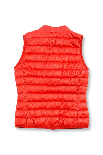 Ladies ultra light goose down Liner Vest - signal orange, back