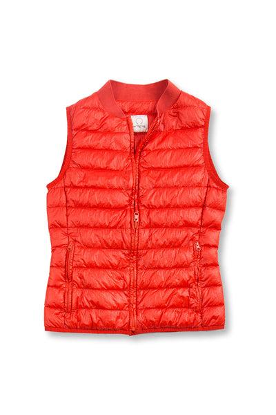 Ladies ultra light goose down Liner Vest - signal orange, front