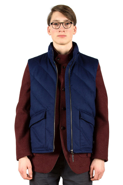 Loden Wool Down Vest Blue - front