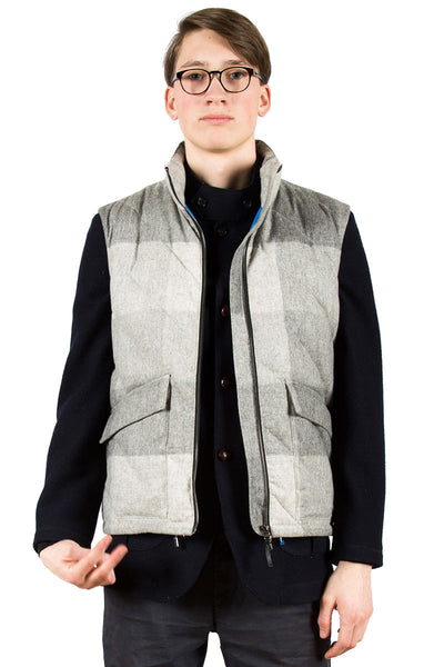 Loden Wool Down Vest Grey - front