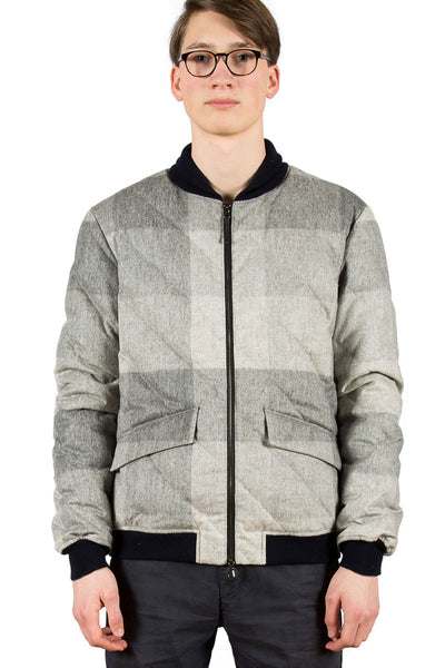Loden Wool Bomber Jacket Grey - front