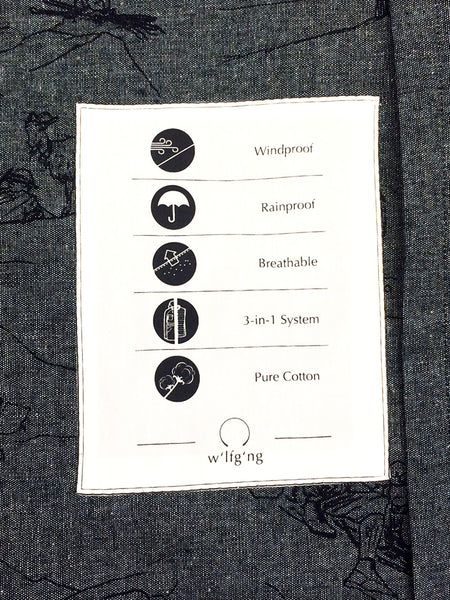 printed inside pocket with all the features of the jacket