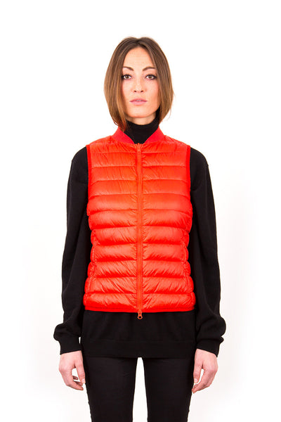 Ladies ultra light goose down Liner Vest - signal orange, Alexandra