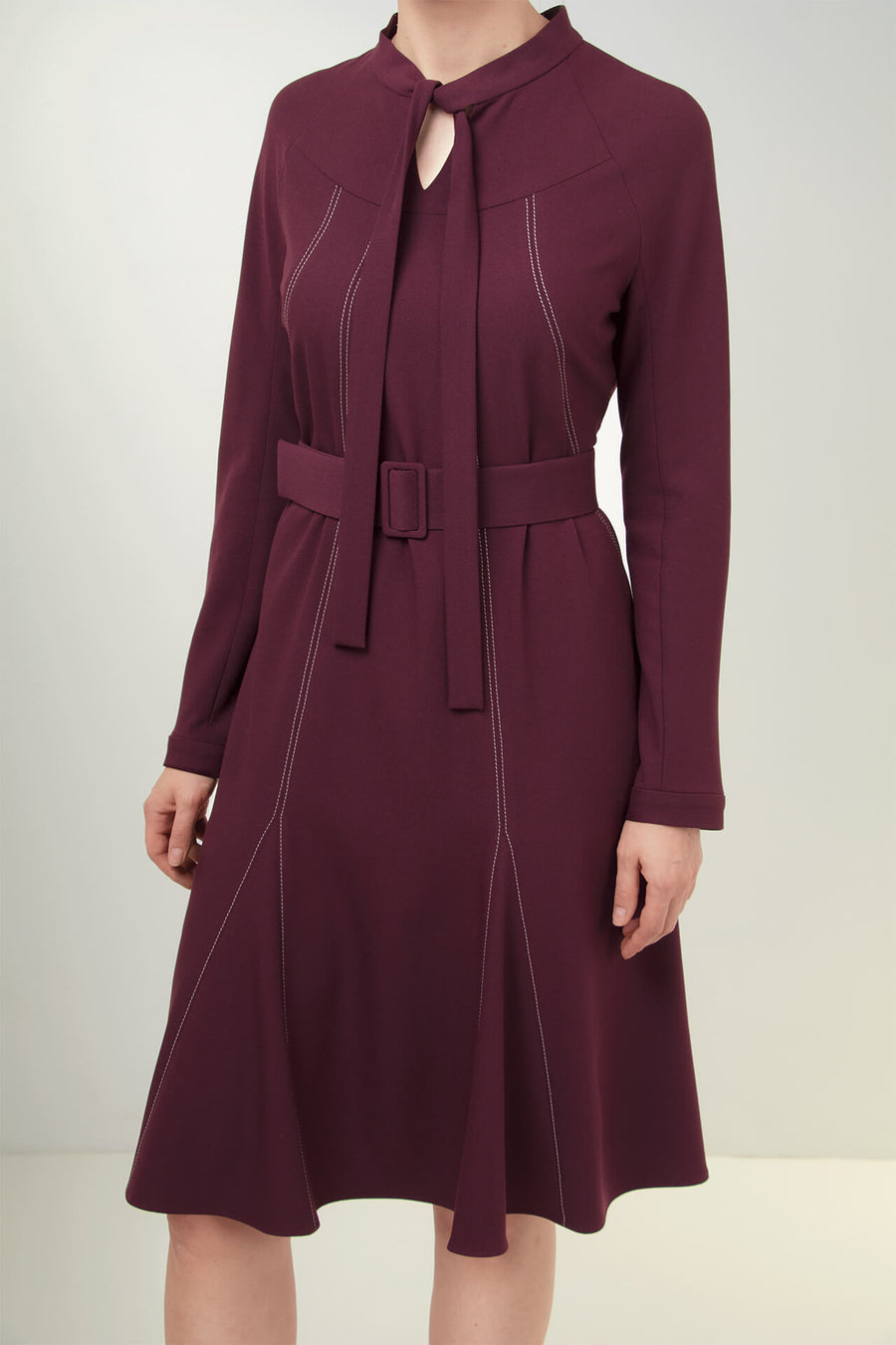 Burgundy Viscose-Blend Crepe Dress