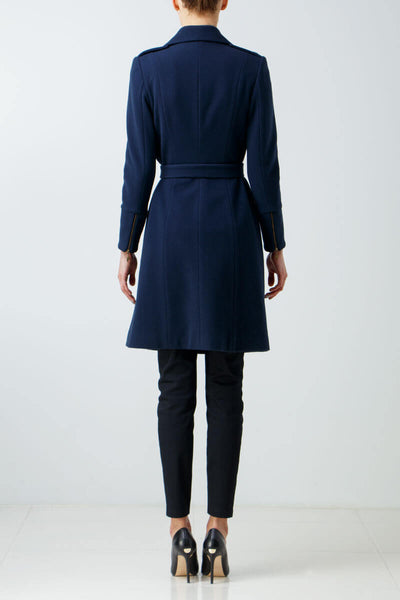 Belted blue wool coat