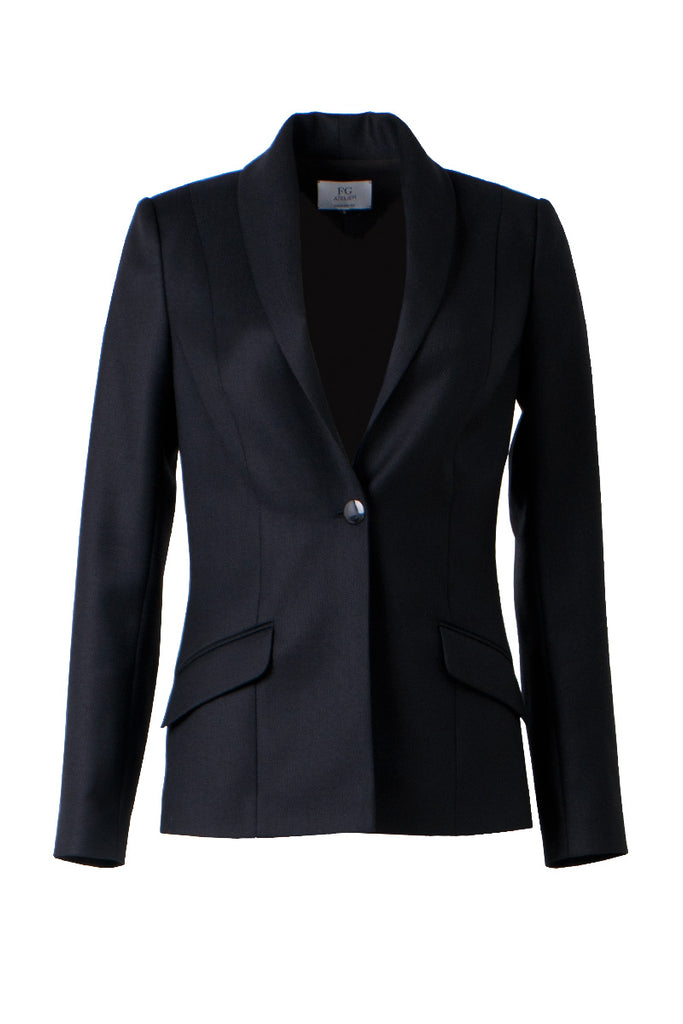 Black lightweight wool Sophia's jacket