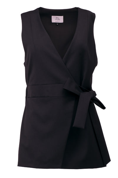 Black stretch wool-blend vest