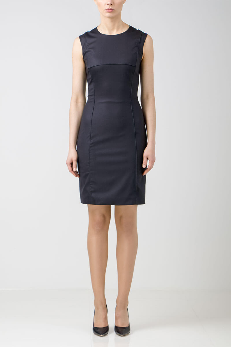 Black stretch-wool dress